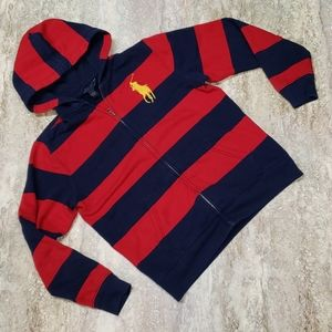 POLO BY R. LAUREN YOUTH ZIP UP HOODIE LARGE BADGE